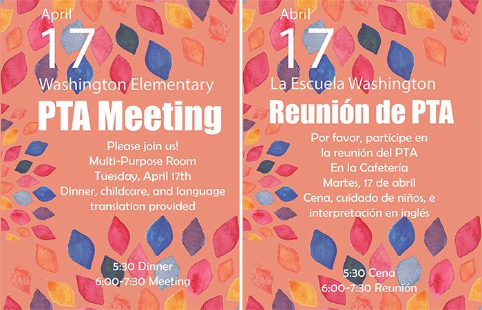 PTA Meeting Tuesday, April 17th | Reunión del PTA en Martes, 17 de Abril