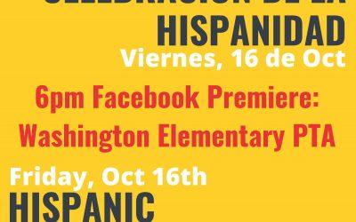 Fri, 10/16 – Virtual Hispanic Heritage Celebration on Facebook LIVE