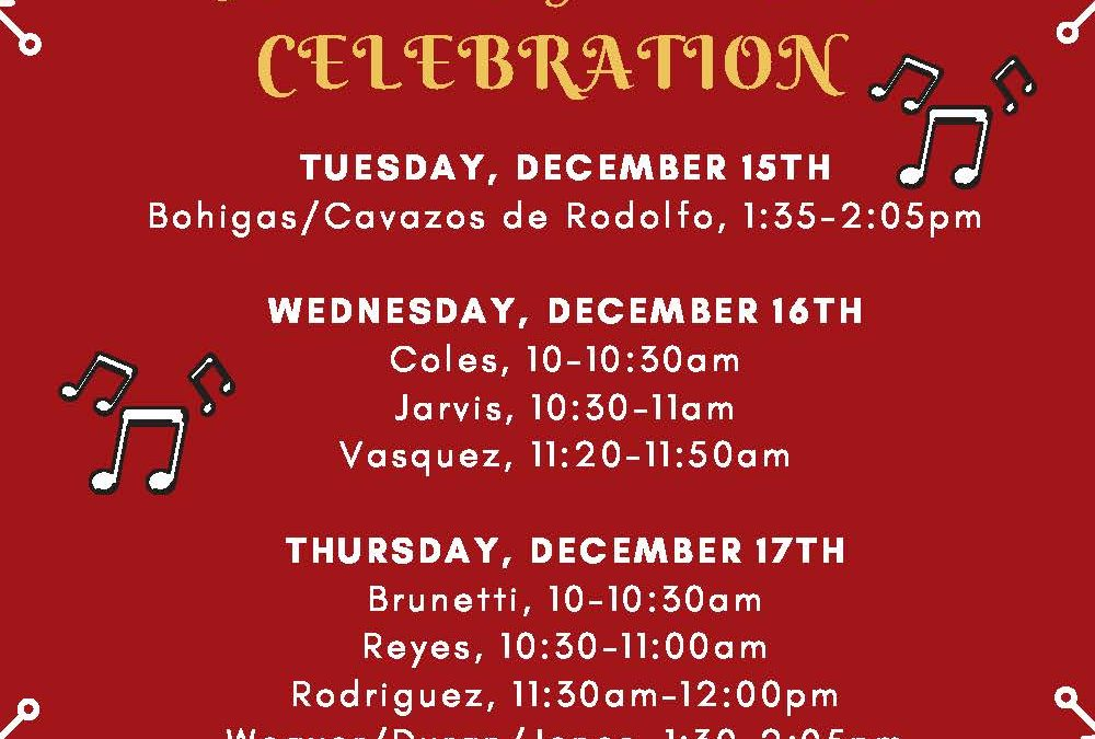 Holiday Music Celebration K-3, Dec 15-17