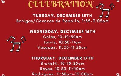 Holiday Music Celebration K-3, Dec 15-17