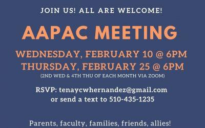AAPAC Meetings – Feb 10 & 25 – 6pm