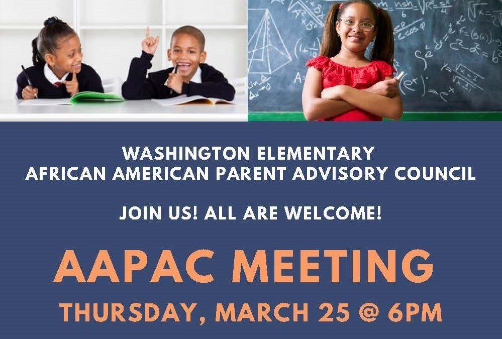 AAPAC Meeting – Mar 25 – 6pm